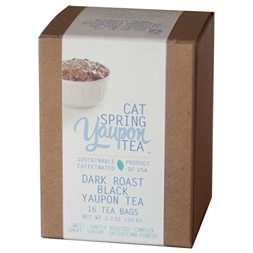 Cat Spring Tea Box of Individual Tea Bags - Dark Roast Black Yaupon - Naturally Caffeinated & Made in the USA {16 Bags} (Yerba Mate Tea Dark Roast compare prices)