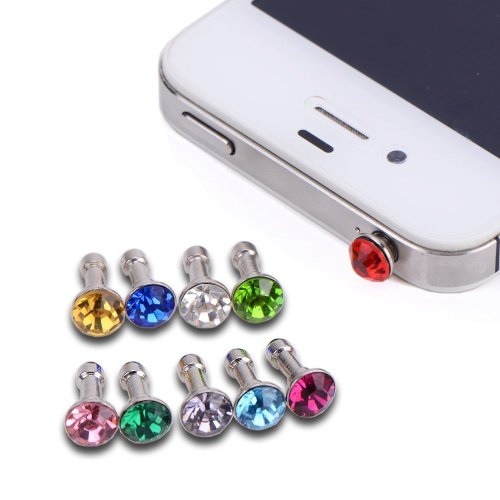 Vandot 10X Crystal Diamond 3.5Mm Anti Dust Plug Bling Earphone Jack Glitter Rhinestone Headphone Port Stopper Caps For Iphone 3 3G 3Gs 4 4Gs 4S/Ipad 1 2 3 /Ipad Mini/ Samsung Galaxy Tab 10.1 P7500 P5110 /Samsung Galaxy Note 10.1/ Samsung Galaxy Tab 7.0 P3