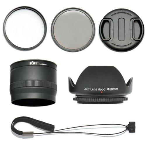 Kiwifotos Objektiv Zubehörset 6 teilig für Canon PowerShot G15 mit Objektivadapter, UV Filter, Polarisationsfilter, Gegenlichtblende, Objektivdeckel, Objektivdeckelhalter
