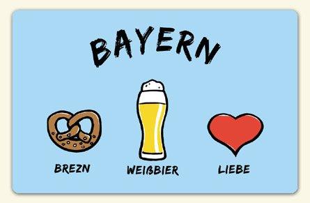 """Kühlschrankmagnet """"Bayern: Brezn - Weißbier - Liebe"""" - als Geschenk für echte Bayern oder als Bayern Souvenir - die stadtmeister"""