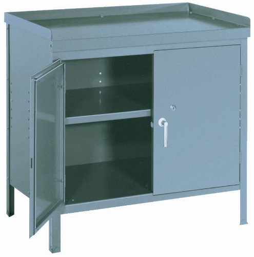 "Lyon PP3000 Heavy Gauge Steel Cabinet Bench, 36"" Width x 24"" Depth x 34"" Height, Putty"