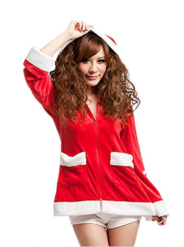 Prettycostume Long Sleeve Red Santa Claus Costume Outfit for Women