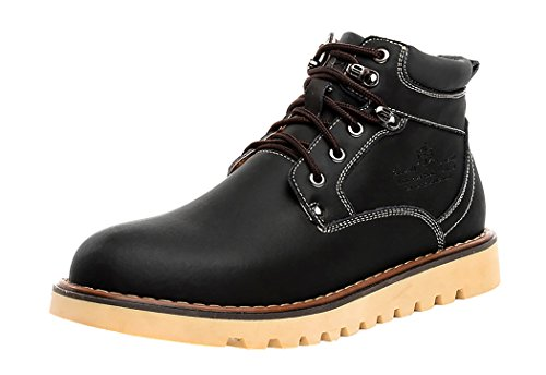 HTARCO Men's Fashion Breathable Work Utility Cowhide Leather Shoes(7D(M)US,black)