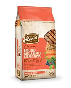Merrick Classic 15-Pound Adult Real Beef, Whole Barley and Carrots Dog Food, 1 Bag