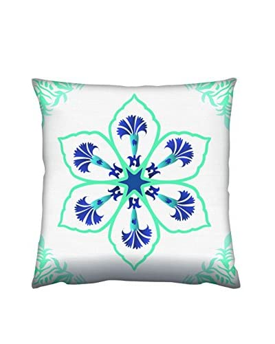 Gravel Large Flower Print Throw Pillow, Blue Green/White