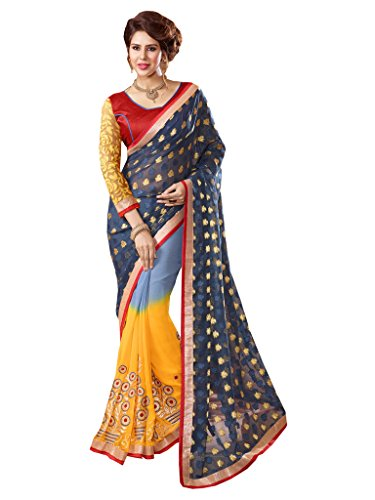 Lovely Look Latest collection of Sarees in Georgette & Jacquard Fabric & in attractive Grey & Yellow Color