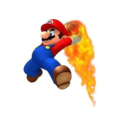 "Super Mario Wall Decal Decor Basketball on Fire Nintendo Cartoon Wall Graphics Video Games 22""x 20"""