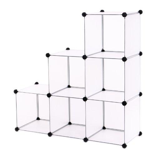 ® Stufenregal Lagerregal Regal Schrank Kleiderschrank Garderobe Bücherregal Kommode Regalsystem Weiß LPC111