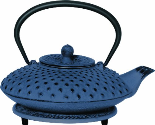 G&H Tea Services Shimizu Japanese Tetsubin 23-Ounce Teapot And Trivet, Blue