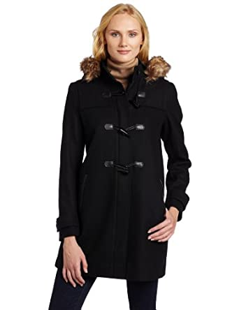 Tommy Hilfiger Women's Hooded Toggle Coat, Black, 4