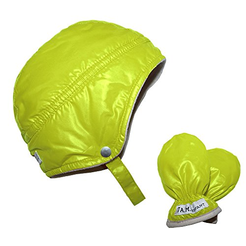 7AM Enfant Infant Mittens and Hat Set, Neon Lime, X Large