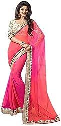 Prenea Women's Self Design Handloom Georgette Sari PS1 _ Pink