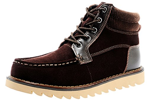Rock Me Cotton Inside Soft Collar Knitting Lace Up Men Ankle Boots Martin I(9.5 D(M) US, Brown)