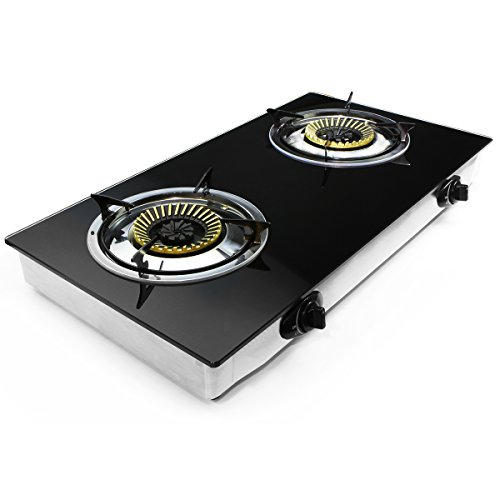XtremepowerUS Deluxe Propane Gas Range Stove 2 Burner Tempered Glass Cooktop Auto Ignition (Gas Stove Top Burners compare prices)
