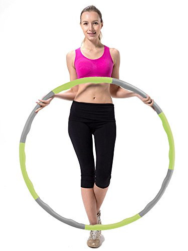Minch Weighted Hula Hoop, Perfect for Dancing Exercise Hot Fitness Workout and Weight Loss (Green-Grey)