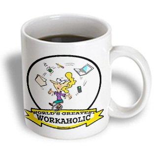 3Drose Mug_103646_2 Funny Worlds Greatest Workaholic Women Cartoon Ceramic Mug, 15-Ounce