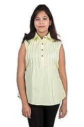 Juee Women's Pintuck Sleeveless Top (JU107SY9SLYEL) (Medium)