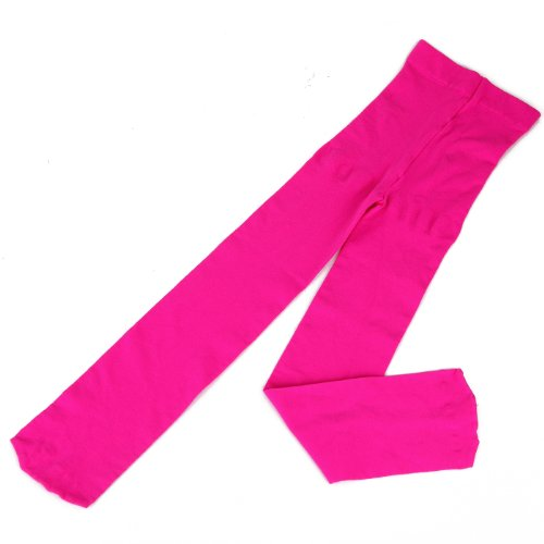 Hde Girl'S Ultra Soft Solid Color Opaque Microfiber Footed Stretch Tights (Hot Pink, Medium) front-555278