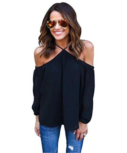 Akery Women's Sexy Spaghetti Strap Off Shoulder Shirt Tops Blouses Medium Black (Spaghetti Strap Blouse compare prices)
