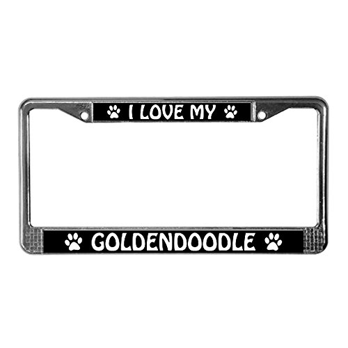 CafePress - I Love My Goldendoodle License Plate Frame - Chrome License Plate Frame, License Tag Holder (Goldendoodle License Plate Frame compare prices)