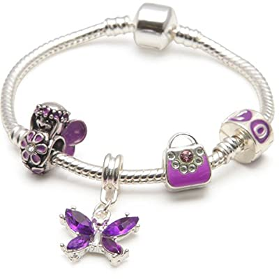 Children's Purple Fairy And Butterflies Silver Plated Bracelets By Bling ( In All Sizes )