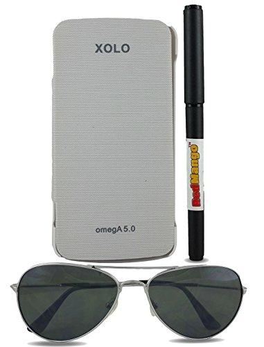 Redmango Redmango Flip Cover Case Xolo Omega 5.0 - White + Free Redmango Pen + Free Aviator Sunglasses