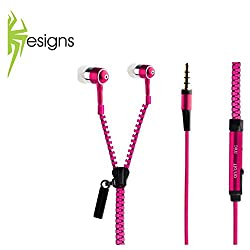 Spider Designs-3.5mm zip Bomb Base Microphone enbuilt Premium tangle free Zipper Earphone - Pink
