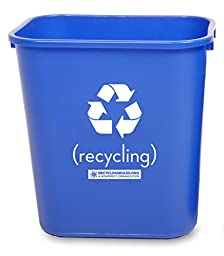 Deskside Recycling Bin Container in Blue Plastic, Small, 13-5/8 quart (3.4 gallon), Pack of 10 ($6.50 each) – Compare to Rubbermaid Commercial FG295573
