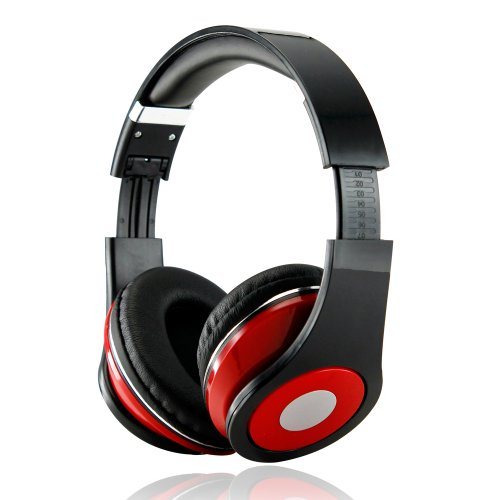 Gearonic Adjustable Circumaural 3.5Mm Over-Ear Stereo Headphone For Ipod Mp3, Mp4, Pc, Iphone Music - Non-Retail Packaging - Black/Red