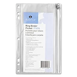 Sparco Products Ring Binder Pocket,W/ Zipper,Vinyl,Hole Punched,9-1/2\