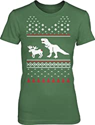 Women's T-Rex Attack Ugly Sweater T Shirt Christmas dino tee for women from Crazy Dog Tshirts