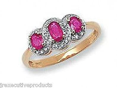 9ct Yellow Gold Ruby Ovals & Diamond Trilogy Ring (available in sizes G - Z )