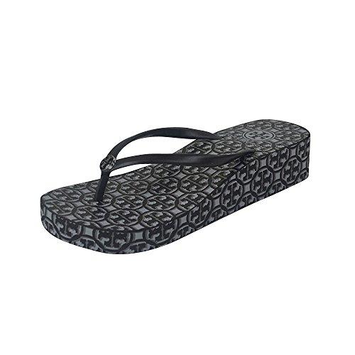 Tory Burch Tb Logo Thandie Wedge Flip Flop Lattice Black White Size 6