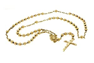 10K Yellow Gold Rosary Beads Chain Necklace 25 Inches 6MM