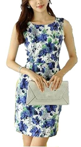 エレガント! 美 シルエット 花柄 プリント ノースリーブ ワンピース ドレス レディース ファッション /  S M L XL 大きい サイズ もあり!