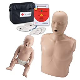 CPR Instructor Basic Starter Kit - Prestan Manikins (Medium Skin Tone) with CPR Rate Monitor - 1 Adult/Child, 1 Infant - 1 American Red Cross AED Trainer