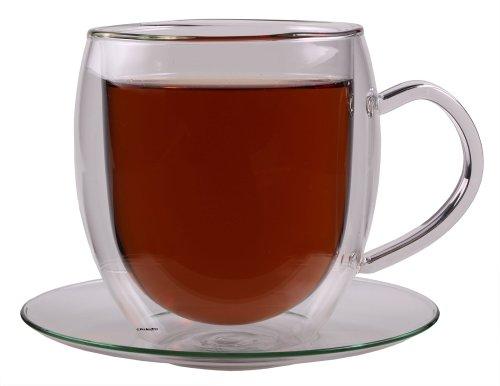 """Feelino 400ml """"BullinO"""" größte doppelwandige Thermotasse mit Untersetzer - edle und extra große Glas-Teetasse / Kaffeetasse mit Schwebeeffekt, Glastasse mit Henkel und Untersetzer"""