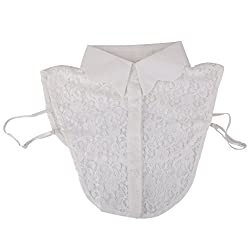 Imported White Lace Floral Fake Wave Collar Detachable Half Shirt Blouse