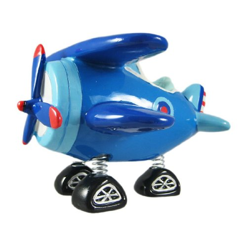 Blue Bi-Plane Bobble Piggy Bank Biplane