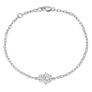 Unique 14k White gold diamonds HAMSA-HAND OF GOD good luck charm bracelet