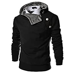 4BH Mens Casual Luxury Buckle Hoodie Slim Cotton Sweatshirts