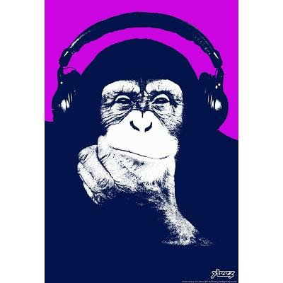 Steez Headphone Chimp - Purple Art Poster Print - 24X36 Custom Fit With Richandframous Black 24 Inch Poster Hangers