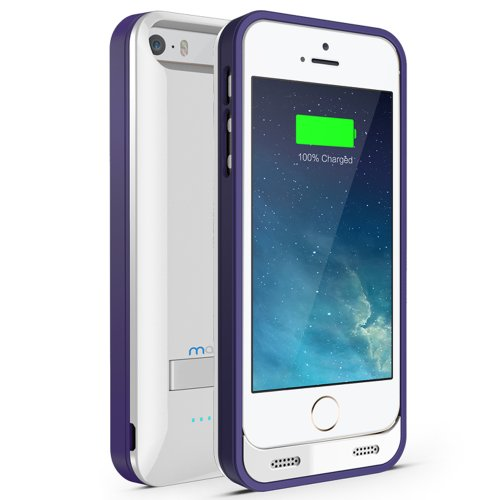 Maxboost Atomic S External Protective Iphone 5S Battery Case / Iphone 5 Battery Case With Built-In Kickstand - White / Purple (Apple Mfi Certified, Fits All Versions Of Iphone 5 / 5S - Lightning Connector Output, Microusb Input ) [100% Compatible With Iph