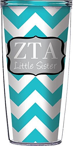 Zeta Tau Alpha Big Sister Chevron 16 Oz Signature Tumblers With Lid