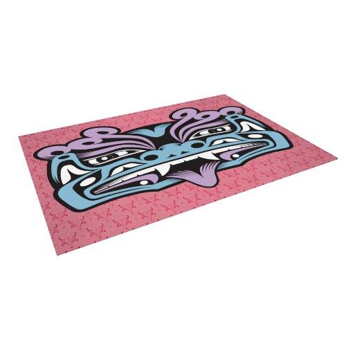 """Kess Inhouse Louie Gong """"Blue Fu Dog"""" Outdoor Floor Mat/Rug, 8 By 8-Feet"""
