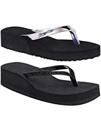 Black Rubber Wedges Synthetic Slipper (Buy One Get One Free)