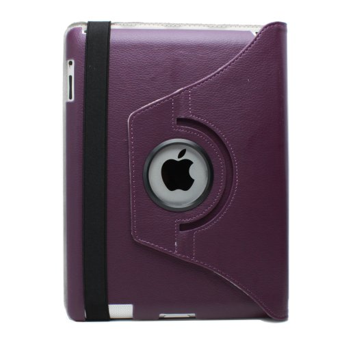 Fosmon 360 Degree Revolving PU Leather Case With Multi Angle Stand for Apple New iPad 4 / iPad 3 - Purple (w/Magnetic Sleep Function)