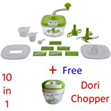 Jony 10_in_1_Green Manual Food Processor (Green) By A TO Z Sales-AZ5021 With Dori Chopper