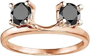 10k Gold Three Stone Round Prong Set Ring Wrap Enhancer with Black Diamonds 025 ct twt