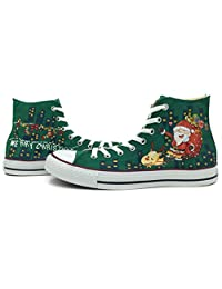 Hand Painted Green Converse Shoes All Star Christmas Father Deer Chuck Taylor Unisex High Top Canvas